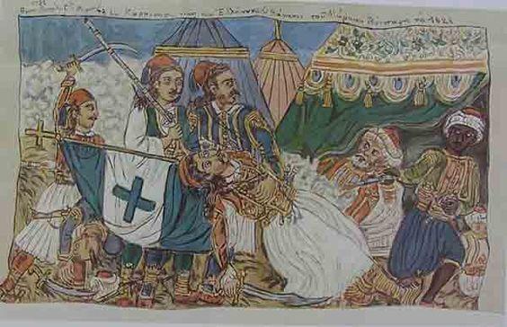 """""""Ο θάνατος του Μάρκου Μπότσαρη το 1823"""", καζεΐνη σε καμβά"""