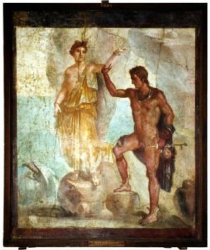Ο Περσέας και η Ανδρομέδασε τοιχογραφία της Πομπηίας