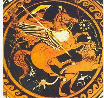 Καβάλα στον Πήγασο ο Βελλεροφόντης επιτίθεται με το δόρυ κατά του τέρατος που έχει σώμα και κεφάλι λιονταριού, κεφάλι με λαιμό αίγας φυτρωμένα στη ράχη και φίδι για ουρά (2ος αι. π.Χ. Τάραντας. Museo Nazionale Archeologico)