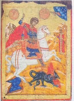 Απεικόνιση του αγίου Γεωργίου.Παρουσιάζει καταπληκτική ομοιότητα με αυτή του Βελλεροφόντη που σκοτώνει την Χίμαιρα