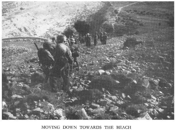 Σφακιά 1941, Βρεταννοί στρατιώτες στο δρόμο της υποχώρησης για την αναχώρηση προς τη Μέση Ανατολή