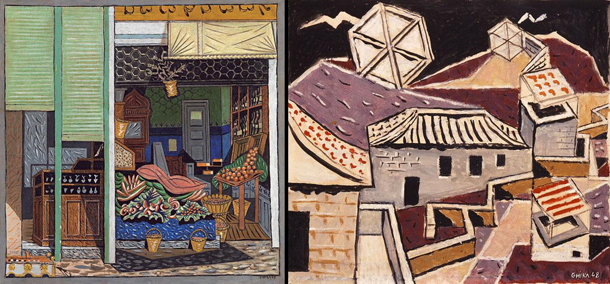 Αριστ., Σύνθεση σε δύο κλίμακες, 1939. Δεξ., Στέγες και αετοί, 1948