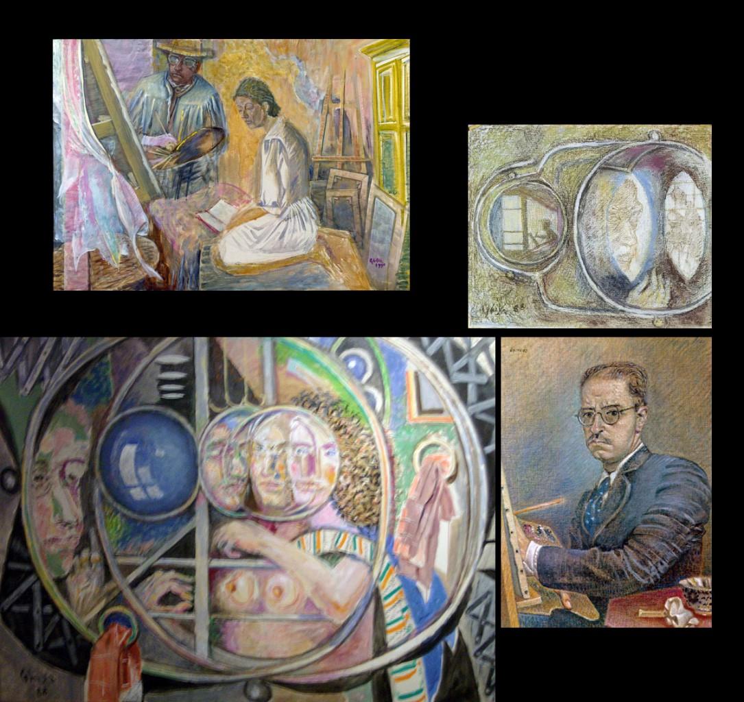 Πάνω αριστ., Ο καλλιτέχνης και η γυναίκα του, 1990, Μουσείο Μπενάκη - Πινακοθήκη Γκίκα. Βλ. Αγγελιοφόρος. Πάνω δεξ., Αυτοπροσωπογραφία ανακλώμενη σε καθρέφτη. Βλ. MuseumPlus. Κάτω αριστ., Αντανακλάσεις καθρεφτών, 1988. Βλ. alterapars. Κάτω δεξ., Αυτοπροσωπογραφία,1942.