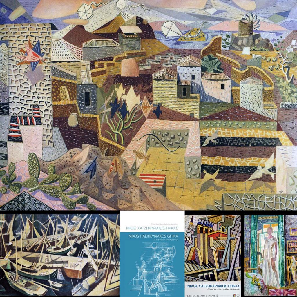 Πάνω, Ύδρα με χαρταετούς,1980. Βλ. Res-Picta. Κάτω, Καίκια (via paletaart) και Η Βαρβάρα στην Ύδρα (viaMuseumPlus)