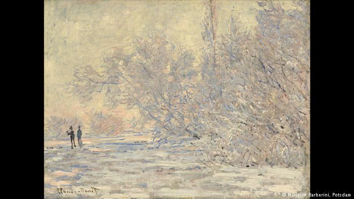 """Οπίνακας του 1885έχει τίτλο """"Πάχνη στο Ζιβανσί"""". Ο Κλοντ Μονέείναι ένας από τους κατ' εξοχήν ζωγράφους του φωτός. Και όπως και οι άλλοι συνάδελφοί του ιμπρεσιονιστές προσπάθησε να 'κρατήσει' τη στιγμή και να την αποτυπώσει στον καμβά."""