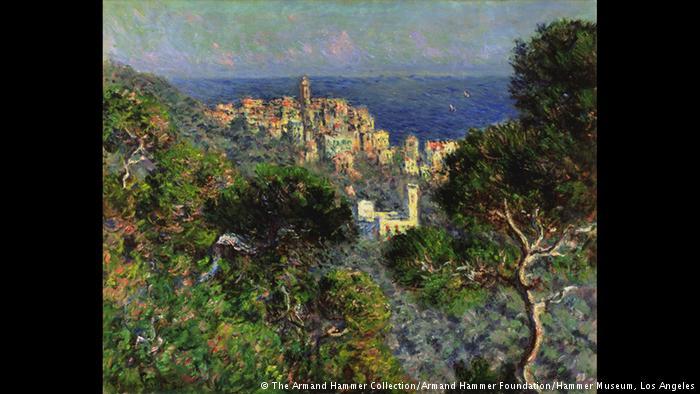 Λατρεία για τη Μεσόγειο Η παραθαλάσσια πόλη Μπορντιγκέρα στη Λιγουρία ήταν κατά τον 19ο αιώνα ιδιαίτερα προσφιλής στους ευρωπαίους καλλιτέχνες. Ο Κλωντ Μονέ ταξίδεψε εδώ το 1884 και λάτρεψε τις ιταλικές ακτές της Μεσογείου. Έμεινε στην περιοχή πάνω από τρεις μήνες και φιλοτέχνησε σπουδαία έργα όπως την «Θέα στη Μπορντιγκέρα».