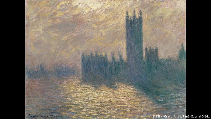 Το Αγγλικό Κοινοβούλιο Σε μια λονδρέζικη σειρά έργων ο Κλωντ Μονέ παρουσιάζει το εντυπωσιακό κτήριο της Βουλής των Κοινοτήτων σε πολλές παραλλαγές. Και εδώ παίζει με το φως, τα χρώματα του ουρανού και τις αντανακλάσεις τους στα νερά του Τάμεση.