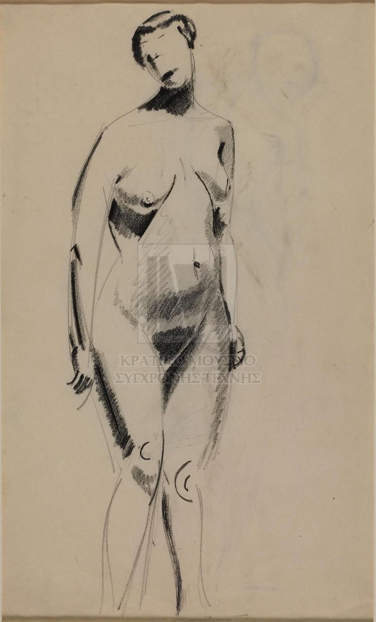 Ασπρόμαυρο σκίτσο που απεικονίζει όρθια γυμνή γυναικεία μορφή σε μπροστινή και ελαφρώς πλάγια όψη. Η μορφή αποδίδεται κυρίως με το περίγραμμα της, οι ανατομικές λεπτομέρειες του προσώπου απουσιάζουν ενώ το σώμα περιγράφεται εικονιστικά με βάση γεωμετρικά στοιχεία (βασικά κυκλικά) και έντονη γραμμική σκίαση (recto). Αχνό ασπρόμαυρο σκίτσο που απεικονίζει περιγραμματικά τμήμα όρθιας γυμνής γυναικείας μορφής σε πίσω όψη. Η μορφή αποδίδεται με το κεφάλι γερμένο εμπρός και προς τα αριστερά ενώ στα δεξιά της εμφανίζεται το αποτύπωμα της μπροστινής όψης του φύλλου (verso).