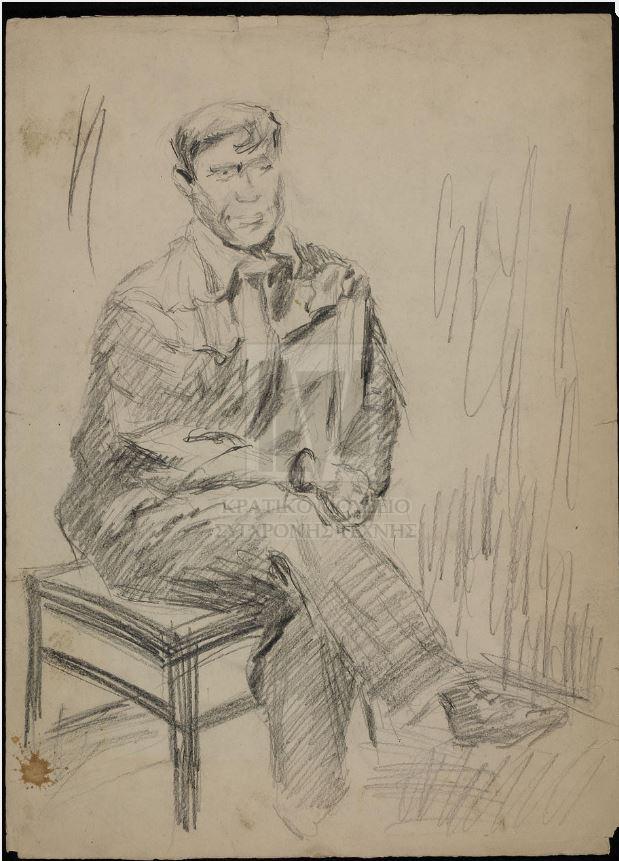Ασπρόμαυρο σκίτσο που απεικονίζει ντυμένη ανδρική μορφή καθιστή σε καρέκλα, με τα πόδια σταυρωμένα (το δεξί πάνω στο αριστερό). Ο άντρας, που παρουσιάζεται σε μπροστινή και ελαφρώς πλάγια όψη, κάθεται με μέτωπο την πλαϊνή πλευρά της καρέκλας και έχει περασμένο το αριστερό χέρι του πάνω από την πλάτη της. Η σύνθεση αποδίδεται με διαφορετικής τονικότητας γραμμική κυρίως σκίαση