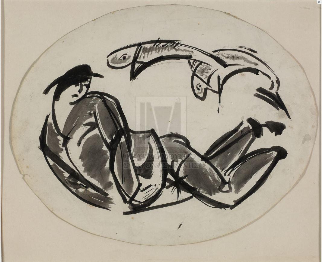 Ασπρόμαυρο σκίτσο που απεικονίζει ντυμένη και με καπέλο μορφή, η οποία παρουσιάζεται εγγεγραμμένη σε οβάλ περίγραμμα, ξαπλωμένη μπρούμυτα και με ανασηκωμένο το πάνω μέρος του κορμού. Δεξιά της και στο πάνω τμήμα εικονίζεται ζεύγος ιχθύων.