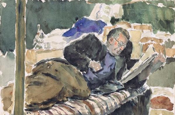 Αη-Στράτης, ο Περικλής Καρασκώγιας διαβάζει, 6-3-1954