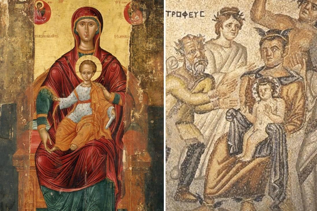 Αριστερά, η Παναγία βρεφοκρατούσα. Δεξιά, η Σεμέλη κρατά τον Διόνυσο.