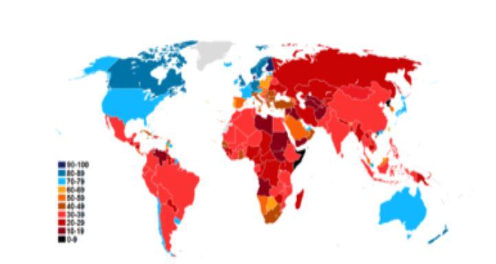 Με μπλέ οι «καθαρές» χώρες, σαν τις ακτές, και με κόκκινο και πιο σκούρο οι «βρώμικες»