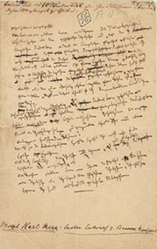 """Χειρόγραφο από το πρωτότυπο προσχέδιο του """"Μανιφέστου"""", γραμμένο από τον Κ.Μαρξ"""