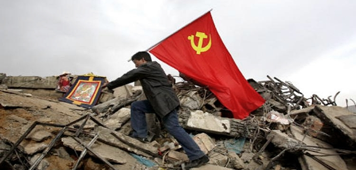 man with communist flag