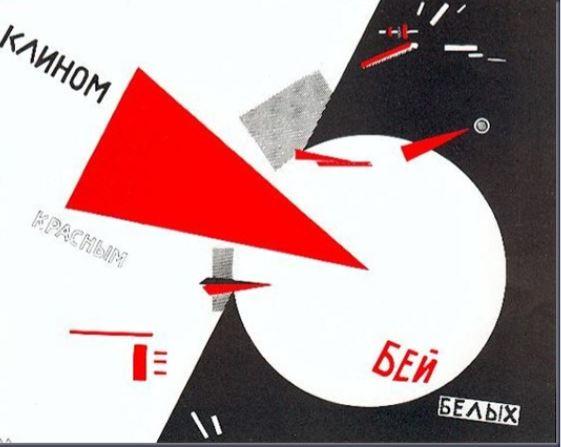 «Με την κόκκινη σφήνα, νικήστε τους λευκούς», ένα από τα πλέον διάσημα έργα με πολιτικό περιεχόμενο του Ελ Λισίτσκι, 1920