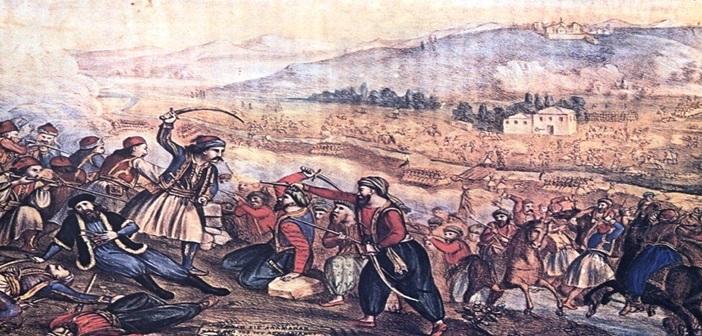 Η Μάχη της Αλαμάνας. Λιθογραφία. Αλέξανδρος Ησαίας
