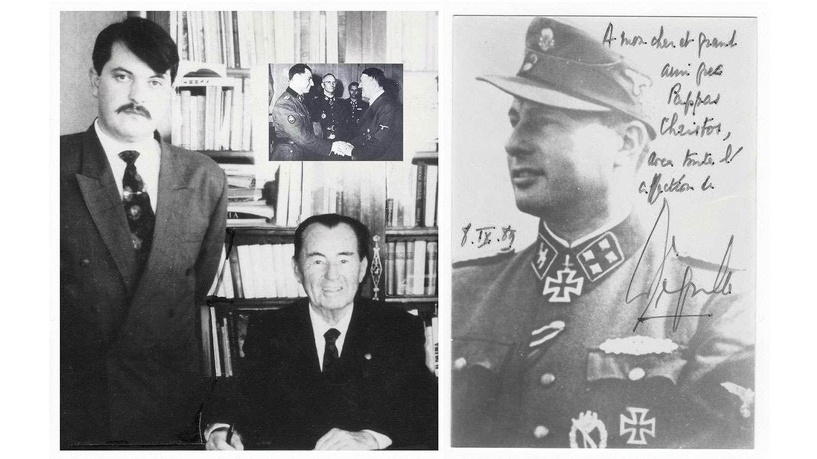 Στα δεξιά, φωτογραφία του Λ. Ντεγκρέλ με αφιέρωση στον «αγαπητό του φίλο Χρ. Παππά με μεγάλη εκτίμηση»