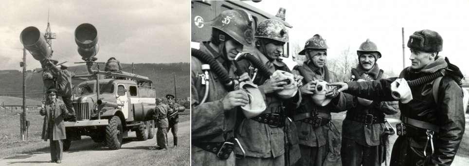Αριστερά: Σοβιετικό πυροσβεστικό όχημα | Δεξιά: Μέλη της πυροσβεστικής υπηρεσίας στην ΕΣΣΔ.