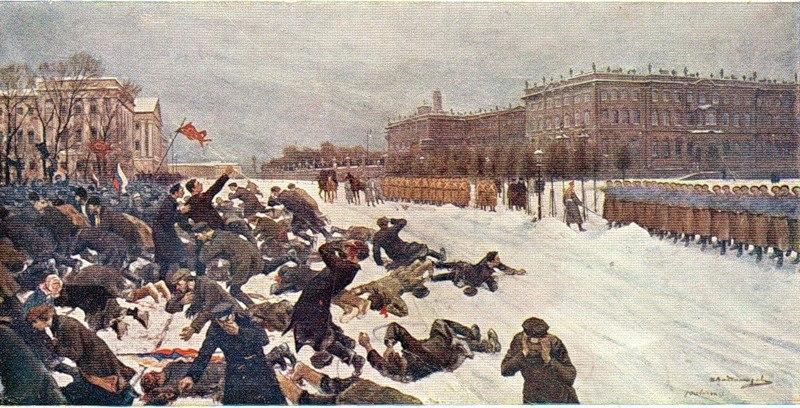 """Εικαστική απεικόνιση των γεγονότων της """"Ματωμένης Κυριακής"""" του 1905 στην Πετρούπολη."""