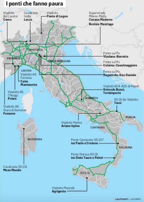 Χάρτης με τις επικίνδυνες γέφυρες στην Ιταλία
