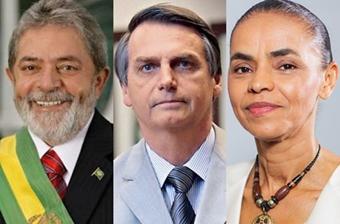 Οι τρείς επικρατέστεροι για την προεδρία: Λούλα ντα Σίλβα, Ζαϊρ Μπολσονάρο, Μαρίνα Σίλβα.