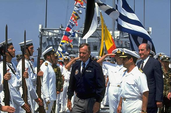 Η επίσκεψη του αρχιχασάπη Τζωρτζ Χ. Μπους στην Σούδα της Κρήτης, Ιούλης 1991.