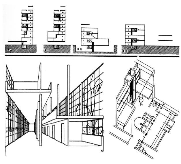 Συλλογική κατοικία (σπίτι-κοινότητα) M.Bartch & V.Vladimirov. Ελάχιστος ιδιωτικός χώρος και μέγιστος κοινωνικός, διατάξεις ορόφων που αργότερα αντέγραψε ο Le Corbusier στην Πολυκατοικία της Μασσαλίας. Καθαρές γραμμές / σχέδια || με την μορφολογία του Bauhaus που αργότερα χρησιμοποίησε ο Mies van der Rohe