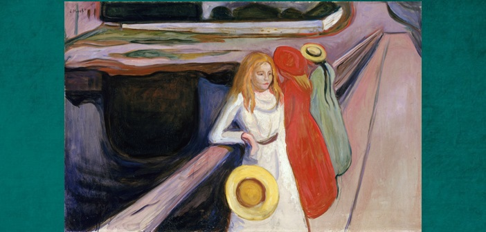 Edvard Munch, The Girls on the Bridge (Hamburger Kunsthalle (1901)