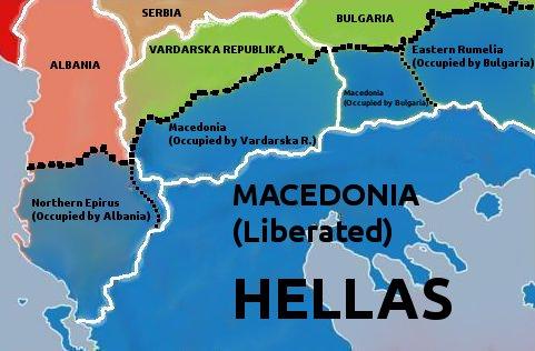 """Χάρτης από την ιστοσελίδα της ναζιστικής Χρυσής Αυγής, με σαφές αλυτρωτικό περιεχόμενο, που παρουσιάζει ως """"κατεχόμενες"""" περιοχές γειτονικών κρατών."""