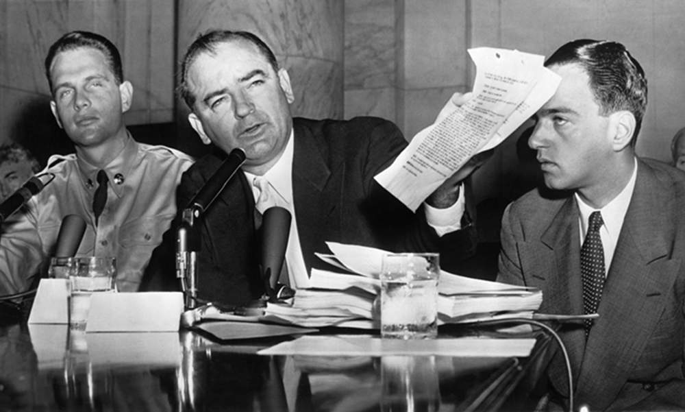 From left: Army Private David Schine, Senator Joseph McCarthy (Republican of Wisconsin), counsel Roy Cohn at the Army-McCarthy hearings, 1954