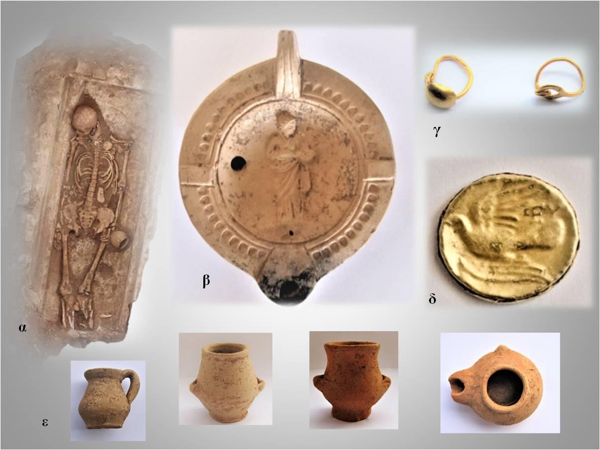 Εικ.:Ευρήματα από ταφές ελληνιστικών και ρωμαϊκών χρόνων. 1α: Ταφή ελληνιστικών χρόνων. 1β: Λύχνος ρωμαϊκών χρόνων με παράσταση Υγείας. 1γ: Χρυσά ενώτια ρωμαϊκών χρόνων. 1δ: Χρυσή δανάκη Σικυώνας. 1ε: Μικκύλα αγγεία ελληνιστικών χρόνων.