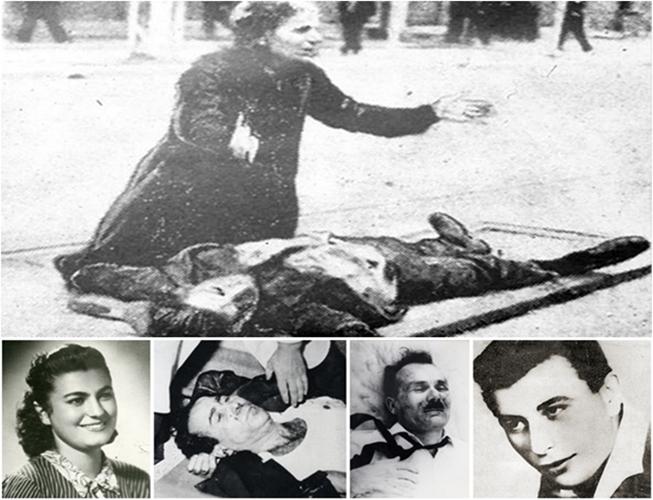 Πάνω: Το μοιρολόι της μητέρας του Τάσου Τούσση, του πρώτου νεκρού του Μάη του 1936. Κάτω, από αριστερά: Κούλα Ελευθεριάδου, Γρηγόρης Λαμπράκης, Γιώργης Τσαρουχάς, Γιάννης Χαλκίδης.