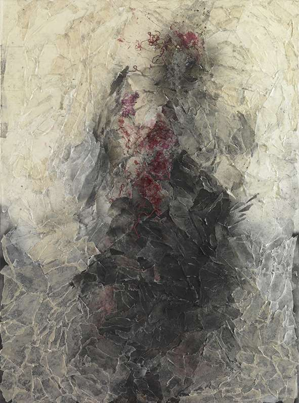 Kassi Marigo, Warrior figure, 2016, handmade waxed papers, watercolour paper, dry pastel, spray, gauze, 150x110cm
