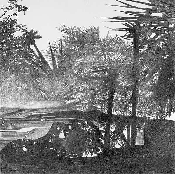 Kavvatha Antigoni, The dog, 2006-2007, diptych, charcoal on paper, 180x180m-1