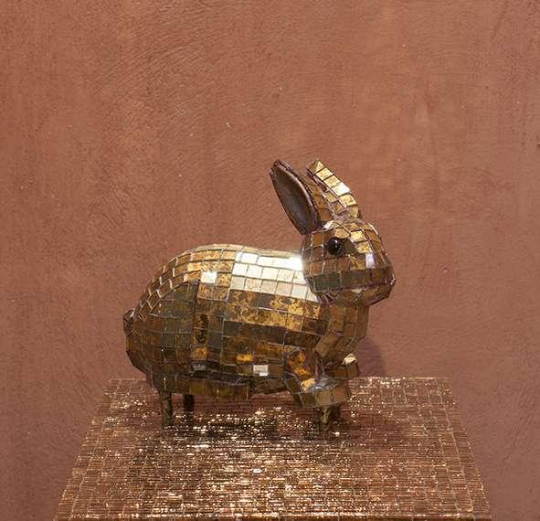 Liti Aphrodite, Bunny, 2010, bronze and murano tiles, variable dimensions