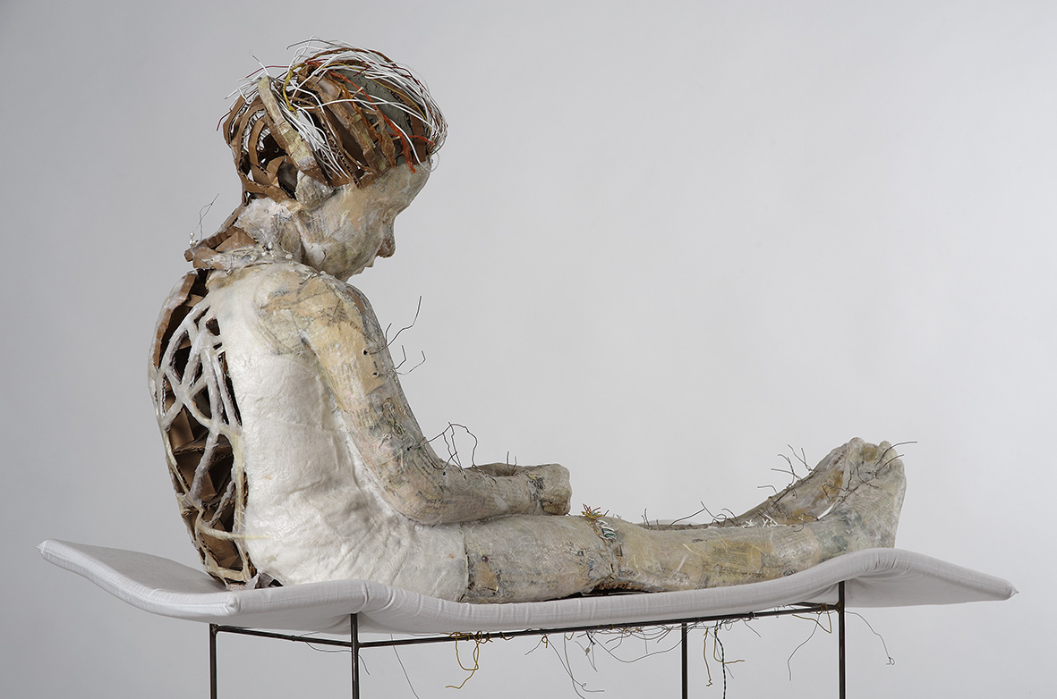 Nomidou Vally, Little girl in bed, 2006, (child) life-size paper sculpture