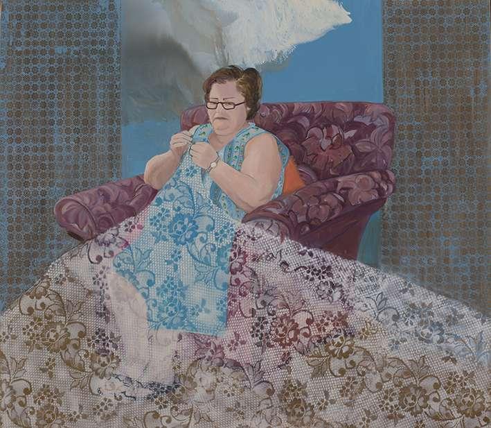Tsakni Despina, Knitting, 2011, oil on canvas, 160x180cm