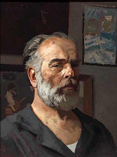 Коржев. Автопортрет. 1980. Холст масло. 61×465 см