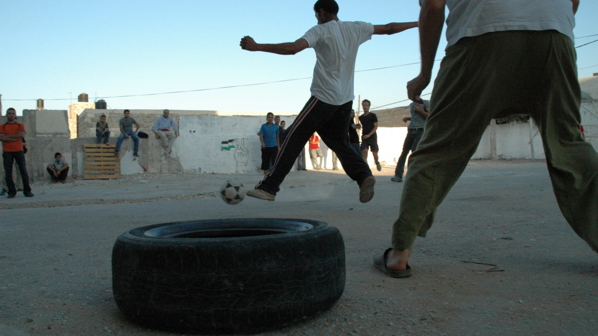 Palestinians playing football