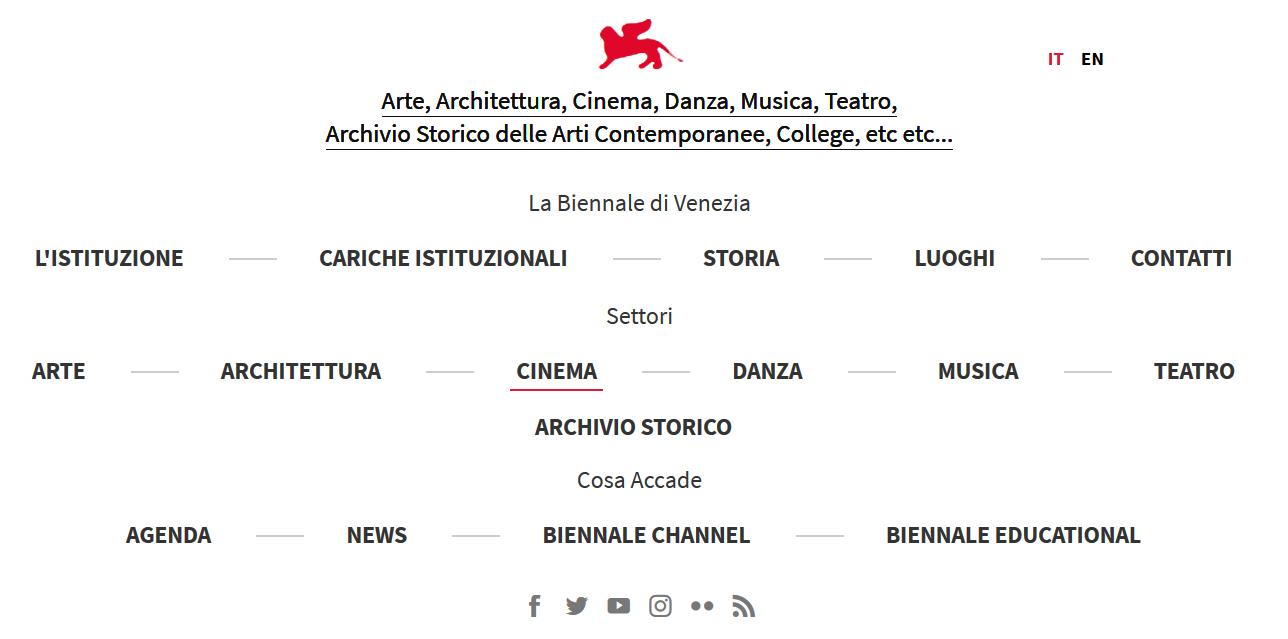 Mostra Internazionale dArte Cinematografica di Venezia menu