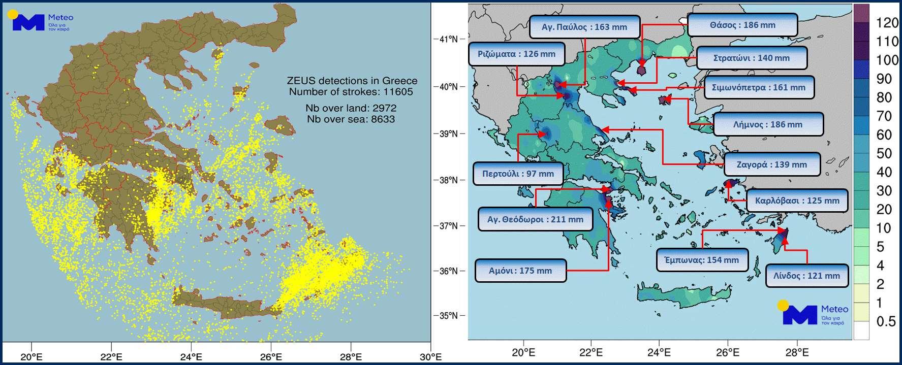 βροχής 211mm 11605 κεραυνοί από το «ΖΕΥΣ» του Εθνικού Αστεροσκοπείου Αθηνών 3ήμερο 24 26 Νοε 2019