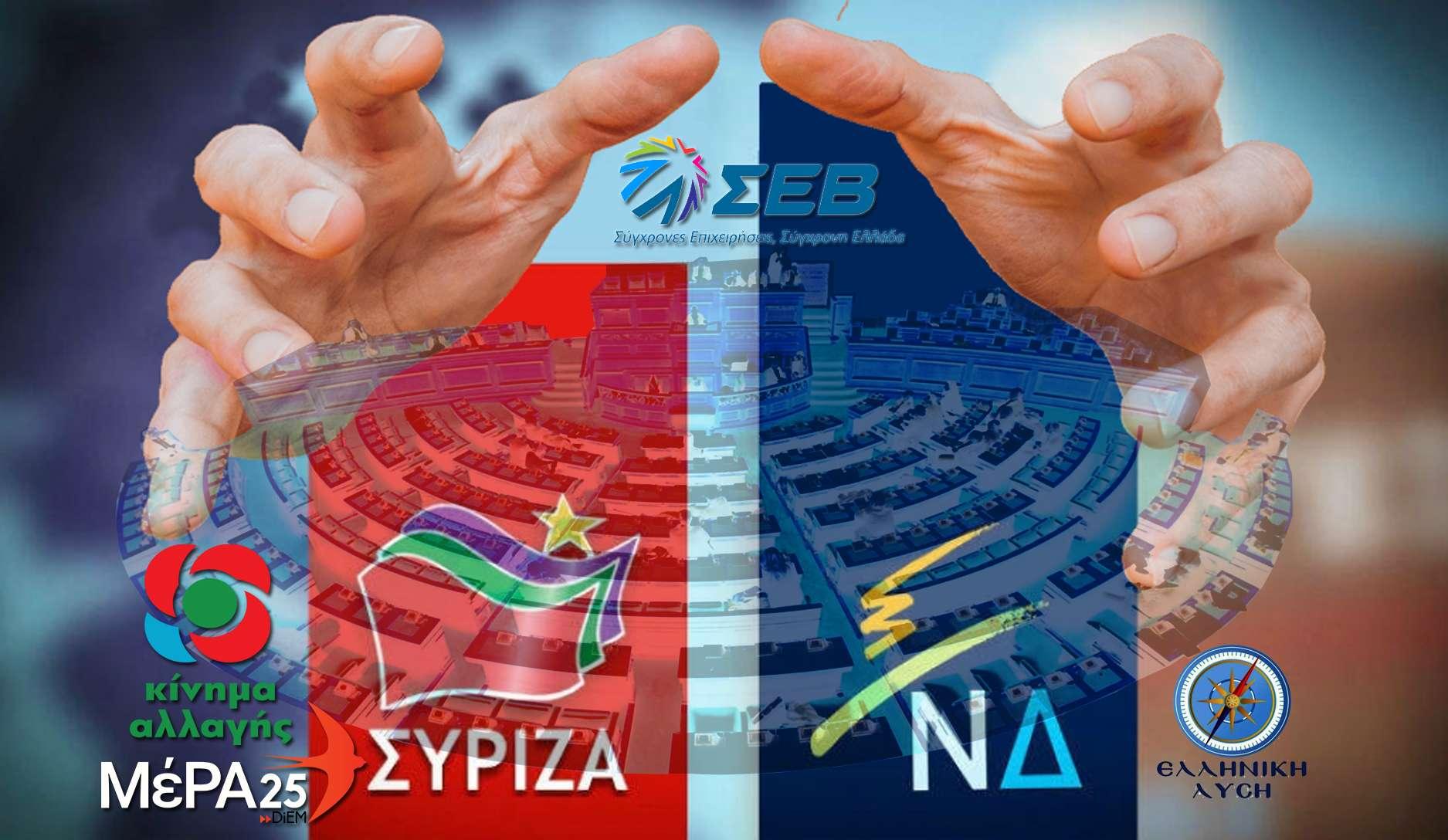 Με εξαίρεση το ΚΚΕ πέντε κόμματα δύο πολιτικές