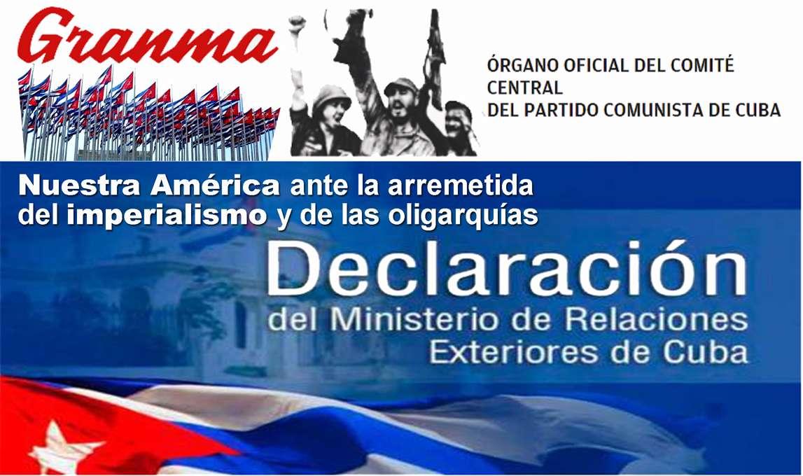 Η Δική μας Αμερική μπροστά στις επιθέσεις του ιμπεριαλισμού και των ολιγαρχιών – Δήλωση του Υπ.Εξ της Κούβας