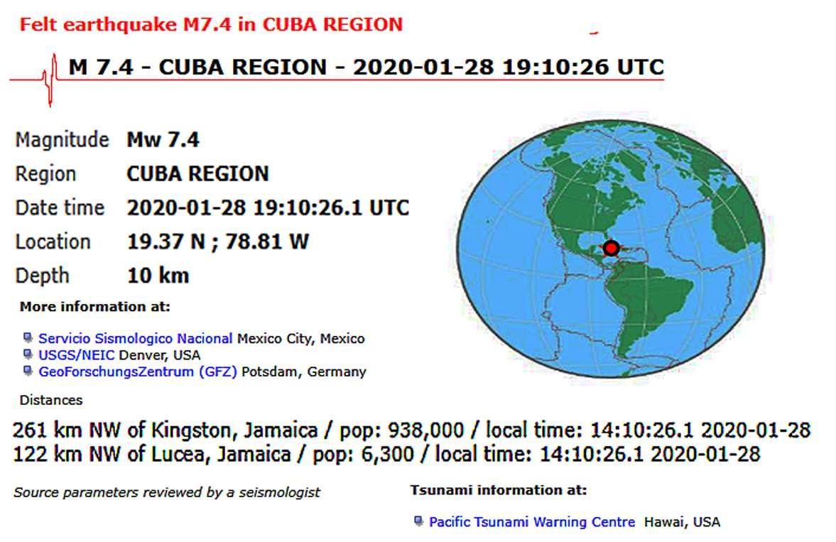 σεισμός στην Καραϊβική 28 Ιαν 2019