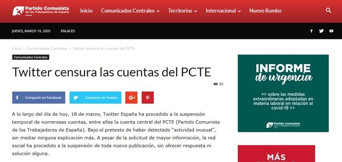 PCTE twitter censorship