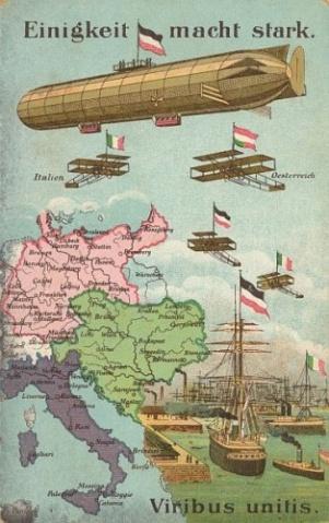 Cartolina postale tedesca inneggiante alla Triplice alleanza con il motto tedesco Einigkeit macht stark Lunione fa la forza e quello latino Viribus unitis Forze unite.