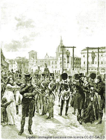 Napoli 12 settembre 1822. Giuseppe Silvati e Michele Morelli vengono impiccati in seguito alla repressione dei moti carbonari napoletani