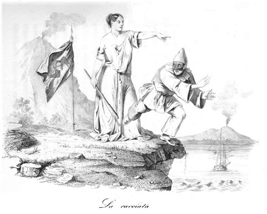 Stampa allegorica del tempo raffigurante la cacciata delle truppe napoletane dalla Sicilia allinizio della rivolta