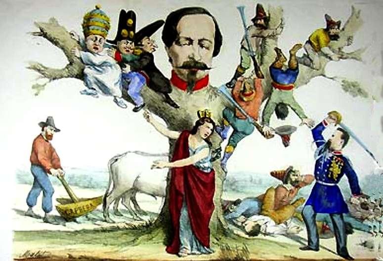 Stampa allegorica post unitaria lItalia turrita indica a Cialdini con la sciabola sguainata i suoi nemici abbarbicati attorno a Napoleone III trasformato in albero